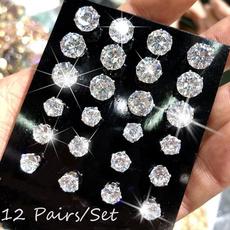 Cubic Zirconia, Steel, Jewelry, zirconstudearring