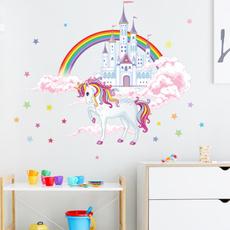 rainbow, cloudcastle, walldecoration, Castle