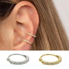 Hoop Earring, nonpiercedearcuff, gold, huggieearcuff