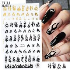 goldwhiteblack, Adhesives, nail stickers, Winter