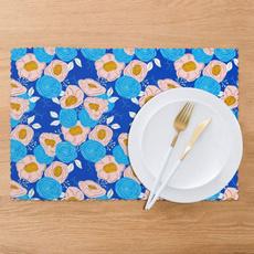 washableplacemat, Blues, Bouquet, tablematssetof6