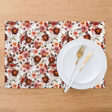 washableplacemat, riverleefloralwhite40placematssetof6, Kitchen & Dining, tablematssetof6