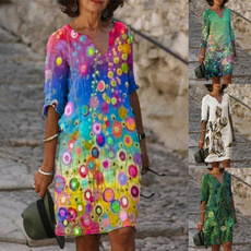 Summer, Plus Size, Sleeve, Dresses