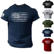 Summer, usaflagtshirt, Men, short sleeves