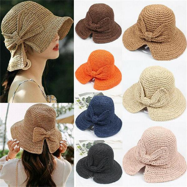 Summer, Outdoor, Beach hat, bowstrawcap