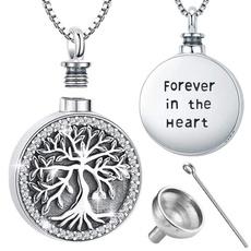 Steel, Heart, keepsakenecklace, treeoflifependant