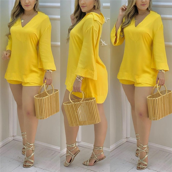 sleeve v-neck, 2pieceset, Shorts, women sexy tops