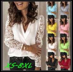 blouse, Deep V-Neck, Plus Size, Tops & Blouses