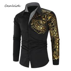 slim, Shirt, gold, Long Sleeve