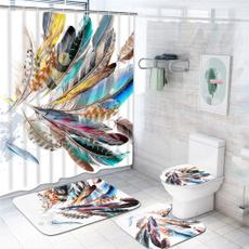 Bath, peacock, nonslipmat, Colorful
