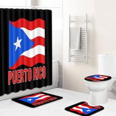 bathroomrugset, puertoricoflag, Waterproof, puertorico