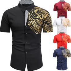 Turn-down Collar, shortsleeveshirtsformen, Men, gold