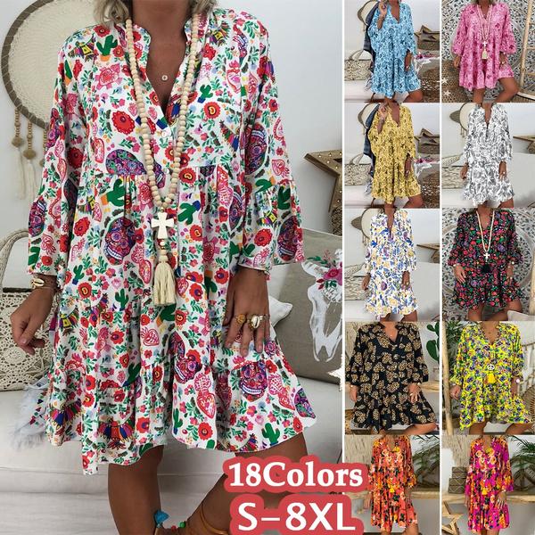 Summer, Collar, Plus Size, Floral print