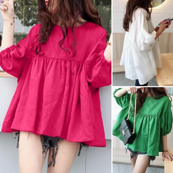 blouse, Summer, Cotton, oneckblouse