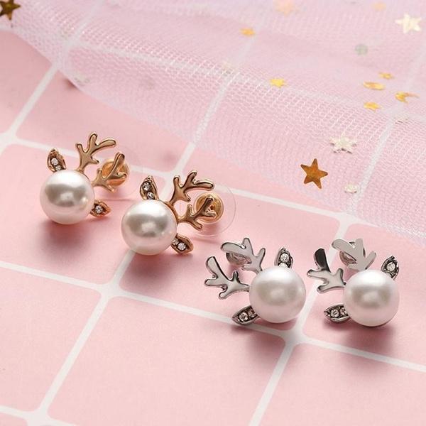 deerearring, Pearl Earrings, Stud Earring, women earrings