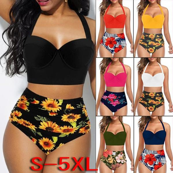 Two Piece Swimwear, Bikinis Set, high waist, Sunflowers