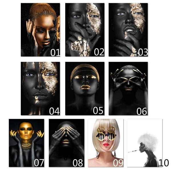 africanartcanvaspainting, Wall Art, Jewelry, gold