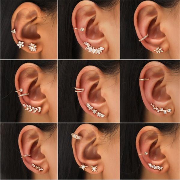 Flowers, Jewelry, gold, Stud Earring