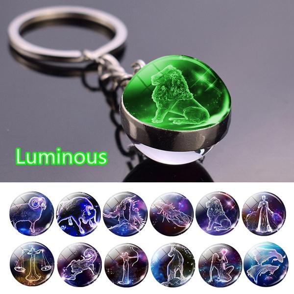 Keys, doublesidedglassballkeychain, glowinthedarkconstellationkeychain, luminouszodiackeychain