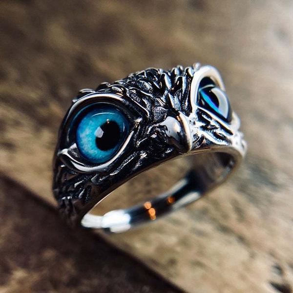 Owl, demoneye, Women Ring, owl jewelry