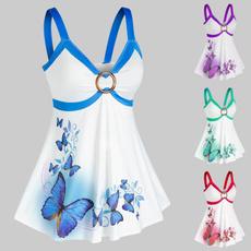 butterfly, Vest, Plus Size, plussizetanktopswomen
