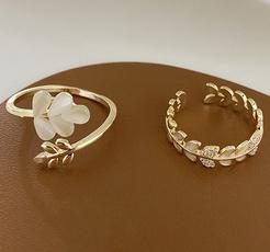 adjustablering, 18k gold, leaf, Women Ring