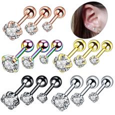 Steel, Stud, 18k gold, stainless steel earrings
