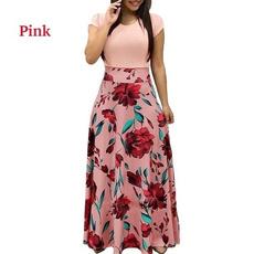Plus Size, short sleeve dress, high waist, chiffon dress