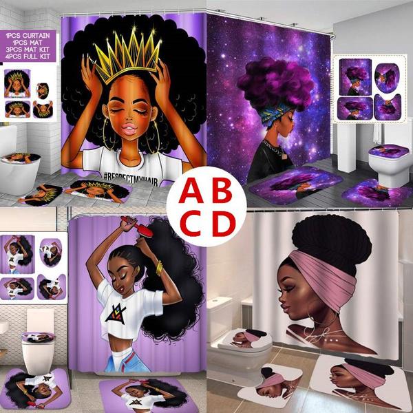africanshowercurtain, Polyester, bathroomdecor, Cover