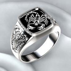 18k gold, Jewelry, titanium steel rings, scorpion