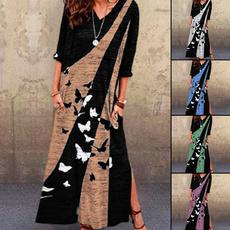 Plus Size, printed, long dress, fashion dress