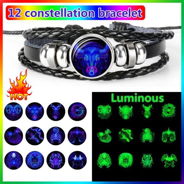 Handmade, 12constellationzodiacbracelet, handmadeleatherbracelet, Jewelry