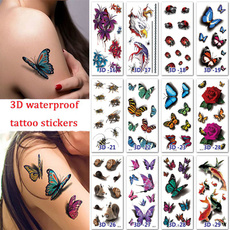 butterfly, tattoo, Flowers, faketattoosticker