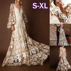 Summer, Lantern, Lace, long dress