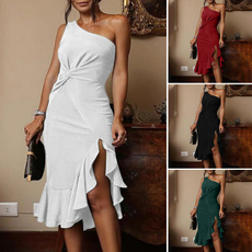 gowns, ruffle, one shoulder dress, Cocktail