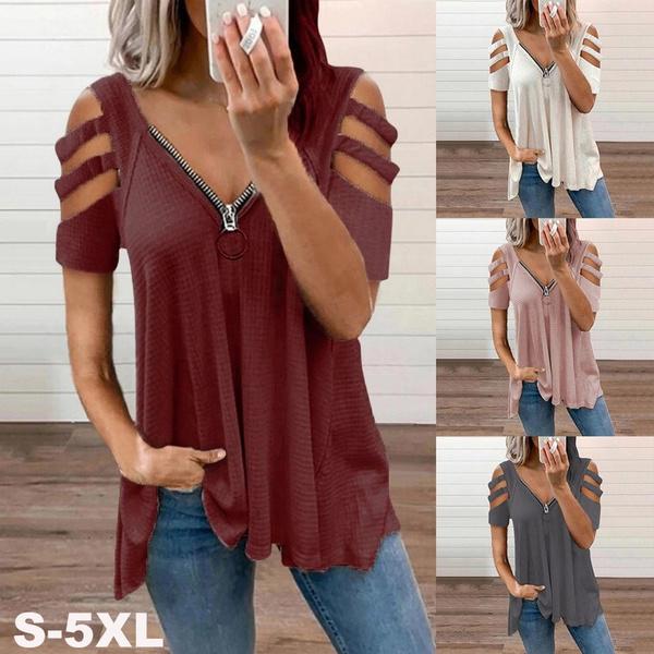 zipperblouse, Summer, Fashion, Plus size top
