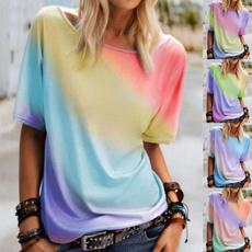 rainbow, Plus Size, Necks, Sleeve