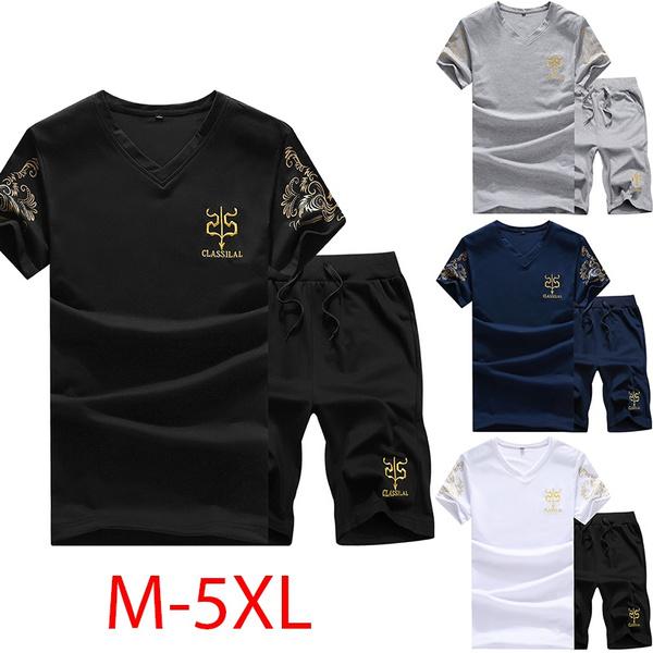 Summer, shortsleevestshirt, athleticset, Short pants