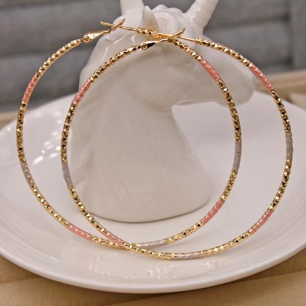 3colorplatedearring, Hoop Earring, Jewelry, gold