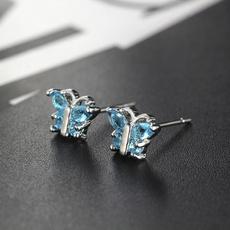 butterfly, White Gold, Fashion, butterfly earrings
