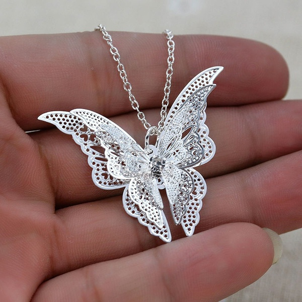 butterfly, Sterling, Chain Necklace, 925 sterling silver