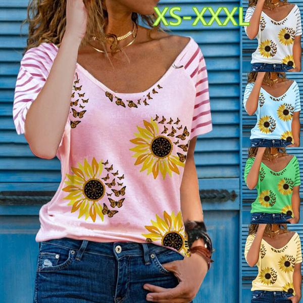 shirtsforwomen, Summer, Plus Size, butterfly