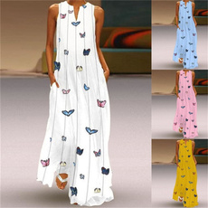 butterfly, slim dress, Plus Size, long dress
