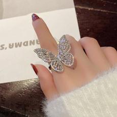 butterfly, adjustablering, butterflyring, crystal ring
