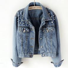 lapel, Plus Size, Long Sleeve, denim jacket