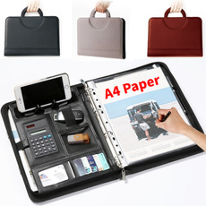 Briefcase, Office, leather, calculator