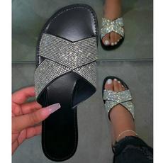 Summer, Fashion, Rhinestone, Slippers