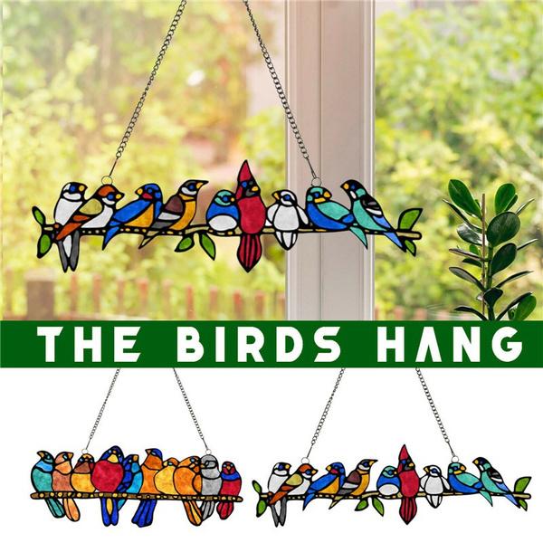 Home Decor, stained, windowhanging, birdshanging