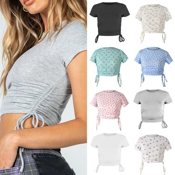Summer, Fashion, crop top, print shirt