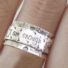 ringsformen, Silver Jewelry, Fashion, letterring